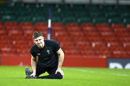 Josh Adams of Wales stretches during the Wales rugby team captains run at the Principality Stadium  in Cardiff , South Wales on Friday 2nd February 2018.  the team are preparing for their opening Natwest 6 Nations 2018 championship match against Scotland tomorrow.   pic by Andrew Orchard