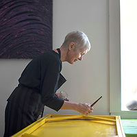 Linda Bowlby paints the back of a canvass inside her studio space at Opo gallery in Gallup Wednesday.