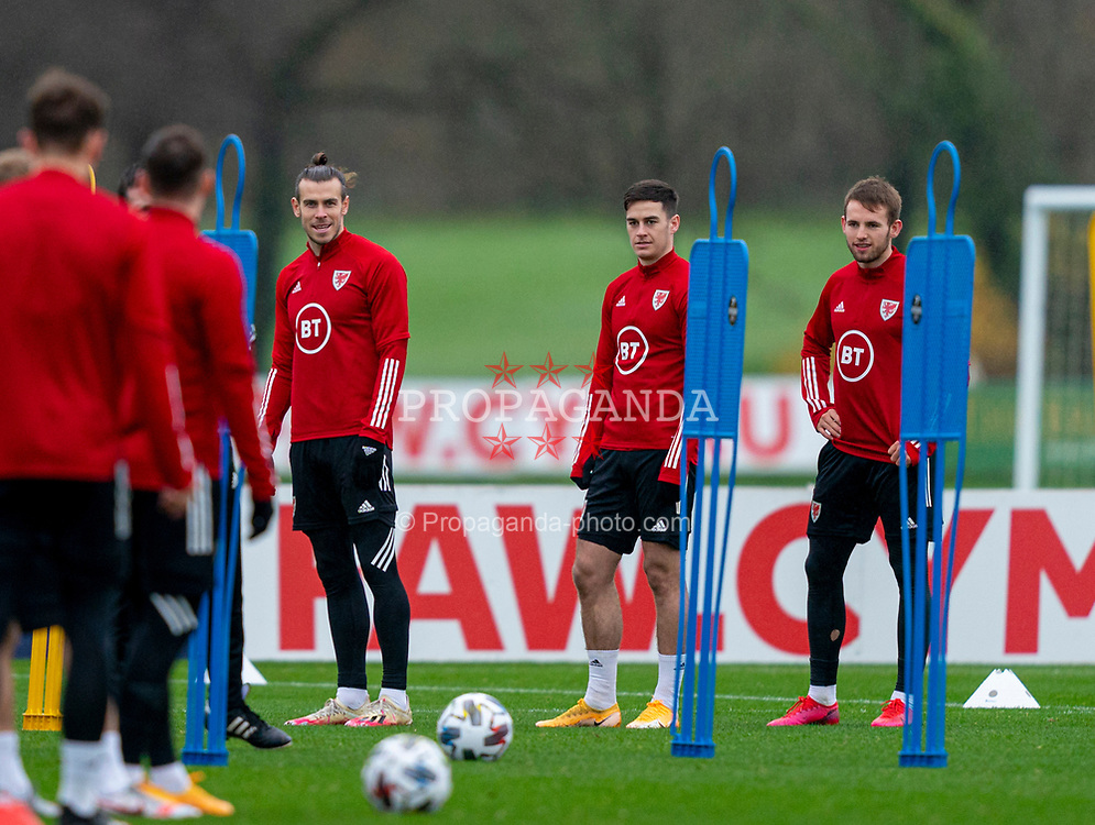 CARDIFF, WALES - Tuesday, November 17, 2020: Wales' (L-R) captain Gareth Bale, Tom Lawrence and Rhys Norrington-Davies during a training session at the Vale Resort ahead of the UEFA Nations League Group Stage League B Group 4 match between Wales and Finland. (Pic by David Rawcliffe/Propaganda)