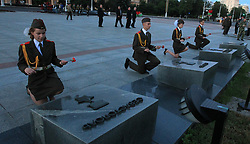 June 22, 2017 - Soldiers attend a memorial ceremony marking the 76th anniversary of the start of the Great Patriotic War (1941-1945) in Minsk, Belarus. (Credit Image: © Xinhua via ZUMA Wire)