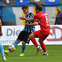 29.09.2019, Carl-Benz-Stadion, Mannheim, GER, 3. Liga, SV Waldhof Mannheim vs. FC Hansa Rostock, <br /> <br /> DFL REGULATIONS PROHIBIT ANY USE OF PHOTOGRAPHS AS IMAGE SEQUENCES AND/OR QUASI-VIDEO.<br /> <br /> im Bild: Marco Schuster (SV Waldhof Mannheim #6) gegen Mirnes Pepic (FC Hansa Rostock #6)<br /> <br /> Foto © nordphoto / Fabisch