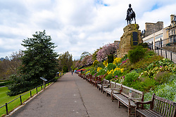 Edinburgh, Scotland, UK. 1 May 2020. Views of Edinburgh as coronavirus lockdown continues in Scotland. Streets remain deserted and shops and restaurants closed and many boarded up. Pictured; A very quiet Princes Street Gardens.  Iain Masterton/Alamy Live News