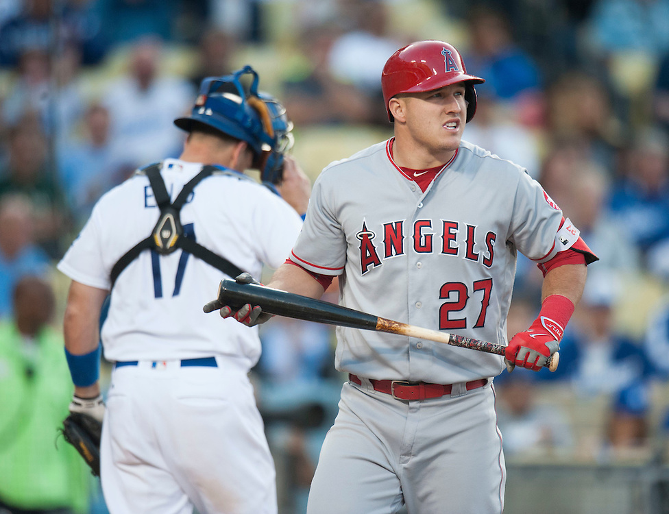 The Angels' Mike Trout strikes out to end the first inning during the Angels' 5-1 loss to the Dodgers Tuesday night at Dodger Stadium.<br /> <br /> / //ADDITIONAL INFO:   <br /> <br /> angels.0518.kjs  ---  Photo by KEVIN SULLIVAN / Orange County Register  -- 5/17/16<br /> <br /> The Los Angeles Angels take on the Los Angeles Dodgers in inter-league play at Dodger Stadium Tuesday night.