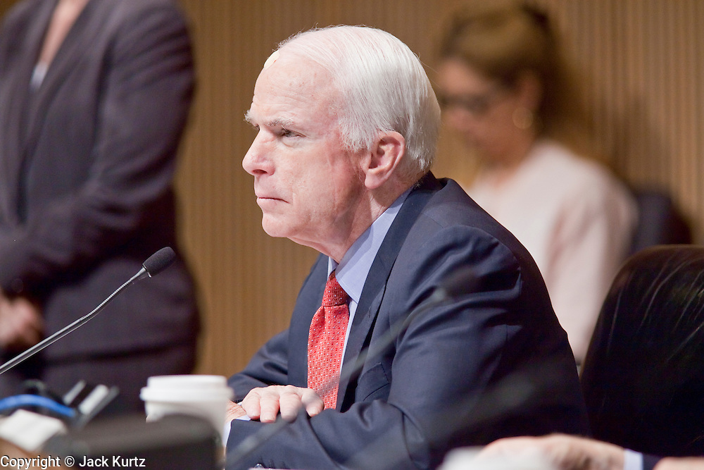 Apr. 20, 2009 -- PHOENIX, AZ: US Senator JOHN MCCAIN (R-AZ) at the US Senate committee hearing in Phoenix Monday. The US Senate Committee on Homeland Security and Government Affairs, chaired by Sen. Joe Lieberman (Ind-CT), held a hearing about local perspectives on border violence in the Phoenix City Council chambers in Phoenix, AZ, Monday.   Photo by Jack Kurtz