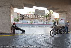 73 year-old artist, sculptor, photographer, and motorcycle-maniac Michael Gontesky of Virginia with his 1911 Harley-Davidson 8A awaits the starting time for Class I bikes in Lake Havasu City during the Motorcycle Cannonball Race of the Century. Stage-14 ride from Lake Havasu CIty, AZ to Palm Desert, CA. USA. Saturday September 24, 2016. Photography ©2016 Michael Lichter.