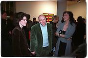 Molly Dent-Brocklehurst, Brian Clarke and Maria Helvin, Product: Richard Hamilton private view, Gagosian Gallery. London. 13 January 2003.  © Copyright Photograph by Dafydd Jones 66 Stockwell Park Rd. London SW9 0DA Tel 020 7733 0108 www.dafjones.com