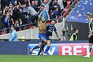 Lyle Taylor of AFC Wimbledon celebrates scoring his sides 1st goal to make it 1-0. Skybet football league two play off final match, AFC Wimbledon v Plymouth Argyle at Wembley Stadium in London on Monday 30th May 2016.<br /> pic by John Patrick Fletcher, Andrew Orchard sports photography.