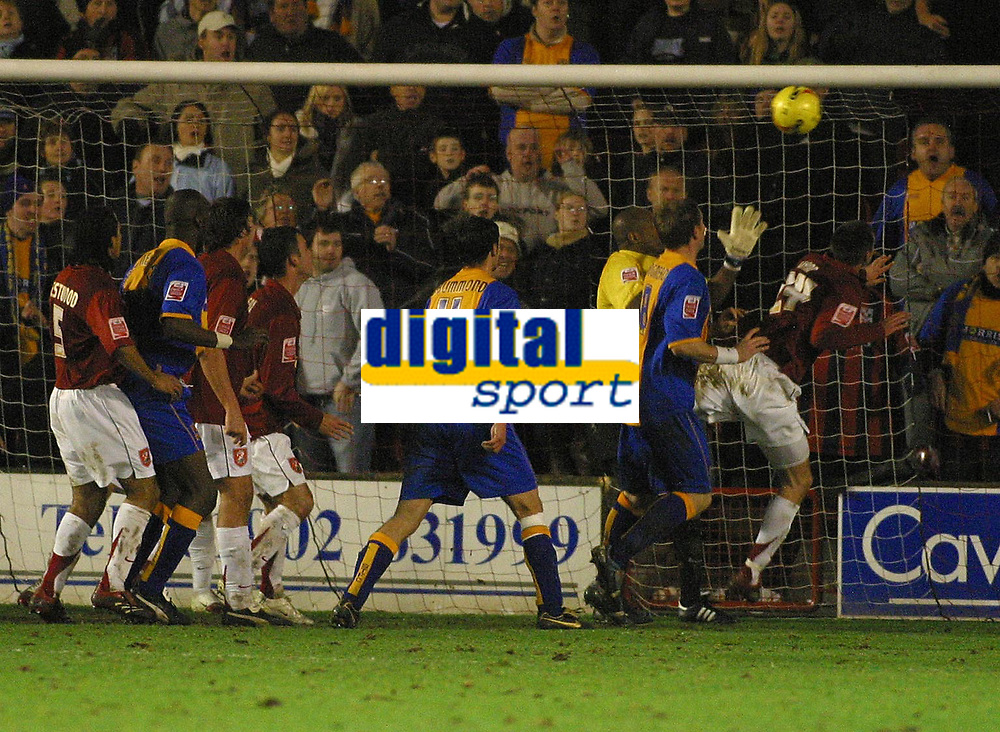 Photo: Dave Linney.<br />Walsall v Shrewsbury Town. Coca Cola League 2. 26/12/2006 Panic in the Walsall defence as Scott Dann(24)  clears tha ball off the line.