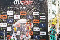 September 30, 2018 - Imola, BO, Italy - Champagne celebration at the podium of MXGP Italy in Imola after the last season race. (Credit Image: © Riccardo Righetti/ZUMA Wire)