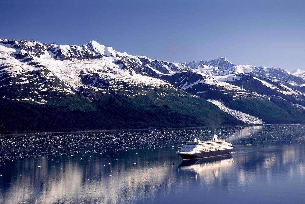 Holland America cruise ship Ryndam in College Fjord, Prince William Sound, Alaska.