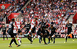 Southampton's Manolo Gabbiadini hits the crossbar with a header during the Premier League match at St Mary's Stadium, Southampton.