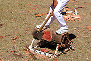 "Woodchopping has been a competitive sport in Australia since at least 1870, and is particularly popular in the state of Tasmania. Here a 14 year old boy competes in the ""Underhand"" competition. Perth, Western Australia"