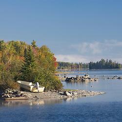 Skiff on Moosehead Lake, Maine.