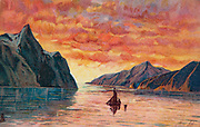 Yacht off coast Greenland, postcard, Circa 1920.