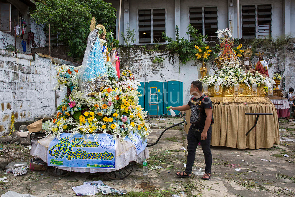 """A float made to honour """"La Divina Matrimonia"""" made by the Patient First Medical Centre for the Grand Marian Parade in Intramuros, Metro Manila, Philippines. The Intramuros Grand Marian Procession is an annual procession on the first Sunday of December that honours the Feast of the Immaculate Conception."""
