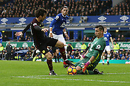 David Silva of Manchester City is denied by Everton Goalkeeper Joel Robles. Premier league match, Everton v Manchester City at Goodison Park in Liverpool, Merseyside on Sunday 15th January 2017.<br /> pic by Chris Stading, Andrew Orchard sports photography.