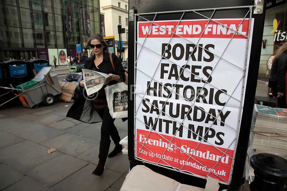 Brexit headline on the Evening Standard newspaper board as Boris Johnson faces a historic Saturday sitting of Parliament and a showdown day with MPs in London, England, United Kingdom.