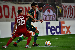 September 20, 2018 - Piraeus, Attiki, Greece - Daniel Podence (no 56) of Olympiacos tries to stop the effort of Aissa Mandi (no 23) of Real Betis. (Credit Image: © Dimitrios Karvountzis/Pacific Press via ZUMA Wire)