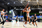 Taylor Hawks Hyrum Harris passes the ball during a match against the Auckland Super City Rangers.<br /> Super City Rangers v Taylor Hawks, NBL NZ, Trusts Arena, Auckland, New Zealand. 7 July 2018. © Copyright Image: Marc Shannon / www.photosport.nz.