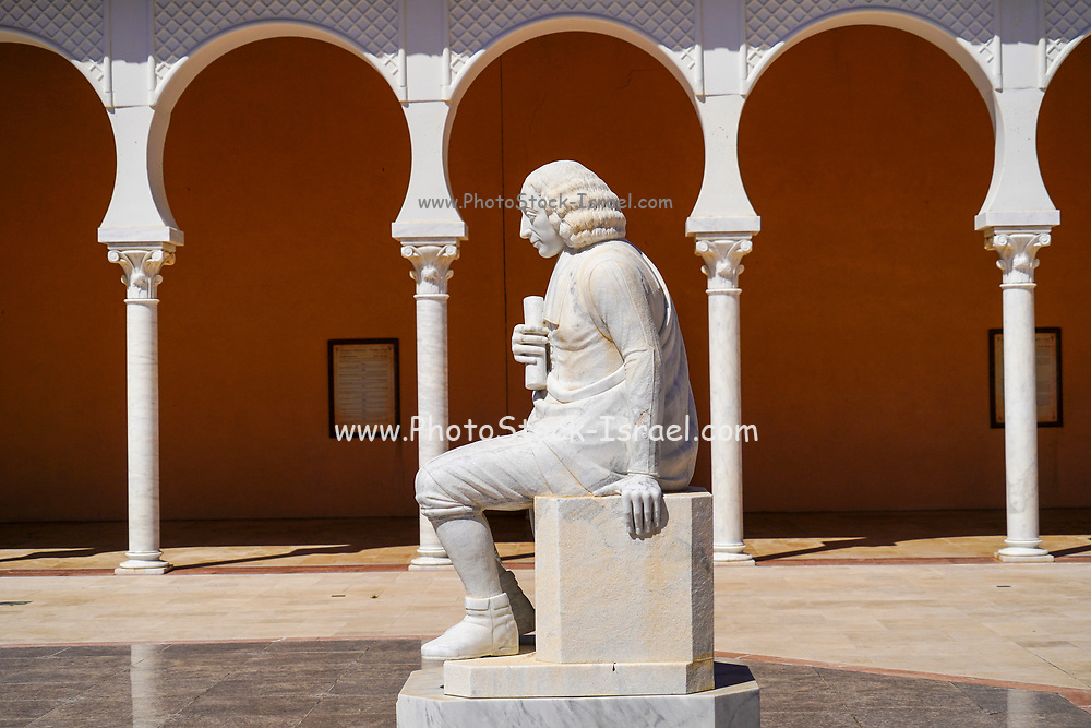 Statue of Baruch Spinoza, at the Ralli Museum Caesarea, Israel. in the section that commemorates the expulsion of Jews from Spain and Portugal during the Inquisition