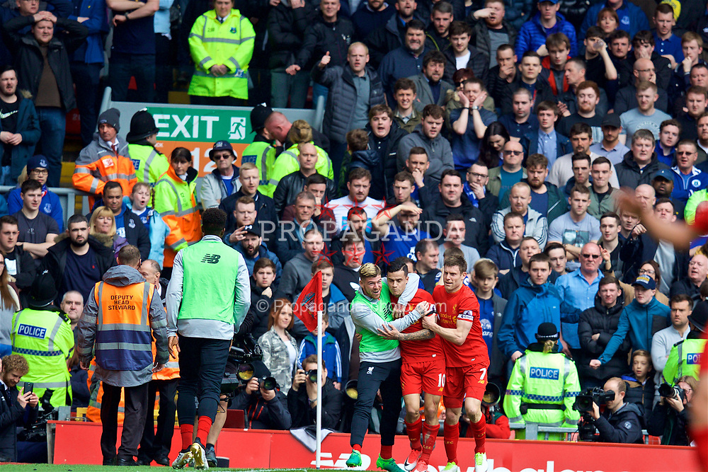 LIVERPOOL, ENGLAND - Saturday, April 1, 2017: Liverpool's Philippe Coutinho Correia celebrates scoring the second goal against Everton during the FA Premier League match, the 228th Merseyside Derby, at Anfield. (Pic by David Rawcliffe/Propaganda)