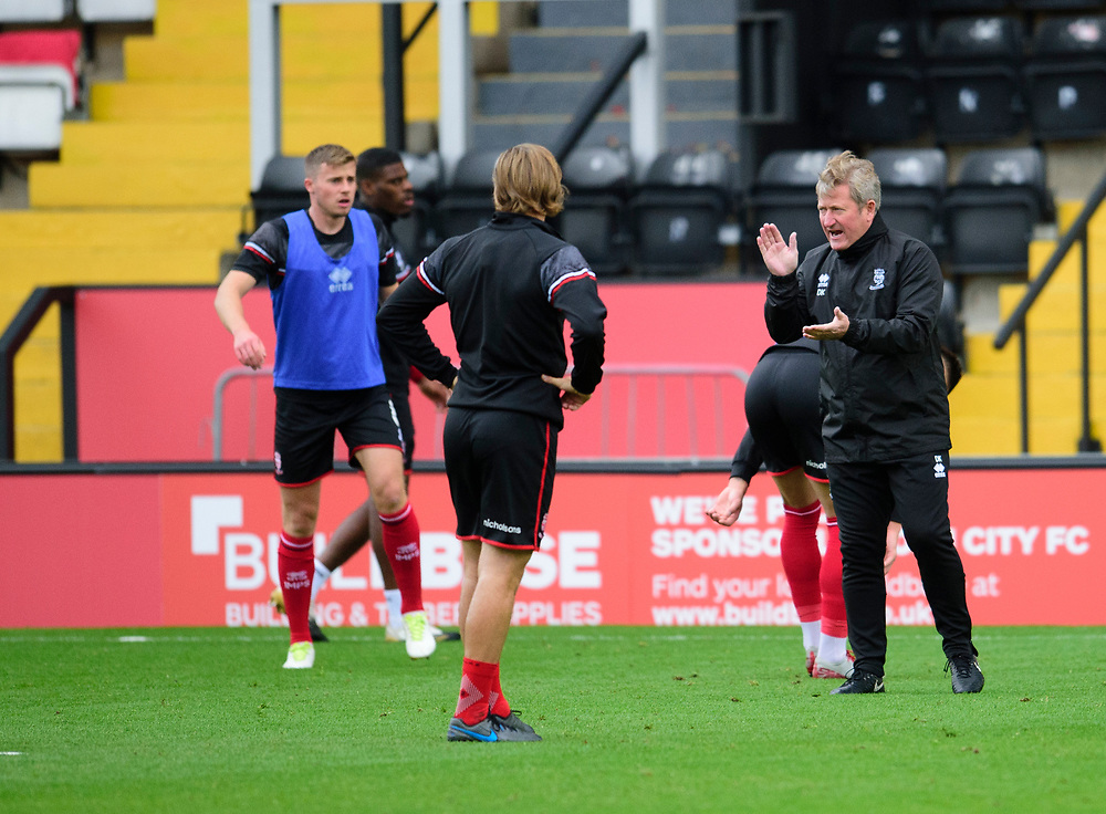 Lincoln City's assistant manager David Kerslake during the pre-match warm-up<br /> <br /> Photographer Andrew Vaughan/CameraSport<br /> <br /> The EFL Sky Bet League One - Lincoln City v Charlton Athletic - Sunday 27th September, 2020 - LNER Stadium - Lincoln<br /> <br /> World Copyright © 2020 CameraSport. All rights reserved. 43 Linden Ave. Countesthorpe. Leicester. England. LE8 5PG - Tel: +44 (0) 116 277 4147 - admin@camerasport.com - www.camerasport.com