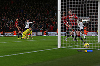 Football - 2019 / 2020 Premier League - AFC Bournemouth vs. Liverpool<br /> <br /> Bournemouth's Aaron Ramsdale looks on dejected as defender Jack Simpson fails to reach the celebrating Mohamed Salah of Liverpool shot at the Vitality Stadium (Dean Court) Bournemouth <br /> <br /> COLORSPORT/SHAUN BOGGUST