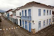 Buildings / street scene in an old Colonial town, Paraty, Rio de Janeiro, Brazil.
