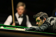 Ronnie O'Sullivan looks dejected  during the final match against Neil Robertson. Betvictor Welsh Open snooker 2016, Final day at the Motorpoint Arena in Cardiff, South Wales on Sunday 21st  Feb 2016.  <br /> pic by Andrew Orchard, Andrew Orchard sports photography.