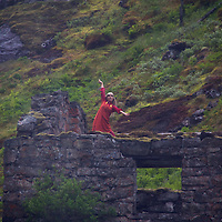 Europe, Norway, Flam. Huldra dancing at Kjosfossen Waterfall, on the Flam Line Railway.