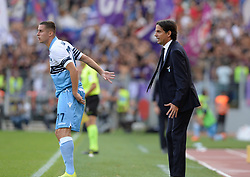 October 7, 2018 - Rome, Italy - Simone Inzaghi  and Adam Marusic during the Italian Serie A football match between S.S. Lazio and Fiorentina at the Olympic Stadium in Rome, on october 07, 2018. (Credit Image: © Silvia Lore/NurPhoto/ZUMA Press)