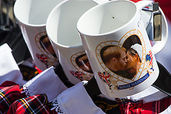 """Already on sale, mugs bear the iconic 'Kiss"""" picture taken less than 24 hours before on the day following the wedding of Prince Harry to Meghan Markle in Windsor, Berkshire. WINDSOR, May 20 2018."""