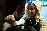 LAS VEGAS, NV - JULY 8:  Claudia Gadelha has her hands wrapped in the locker room before The Ultimate Fighter Finale at MGM Grand Garden Arena on July 8, 2016 in Las Vegas, Nevada. (Photo by Cooper Neill/Zuffa LLC/Zuffa LLC via Getty Images) *** Local Caption *** Claudia Gadelha
