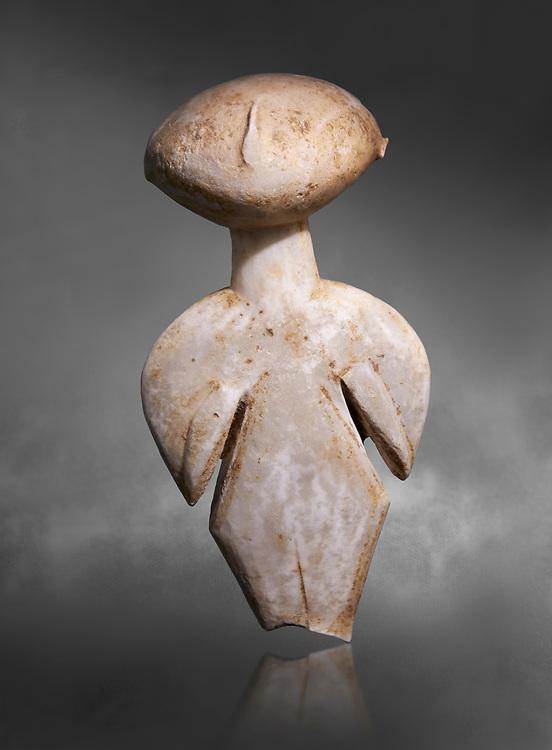 Ancient Greek Cycladic figurine, Kilia type ('stargazer'). Kilia, Gallipoli, Turkey, Circa 4360-3500 BC. Museum of Cycladic Art Athens, Grey Background.
