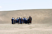 Africa, Tanzania, Maasai an ethnic group of semi-nomadic people A large group of warriors