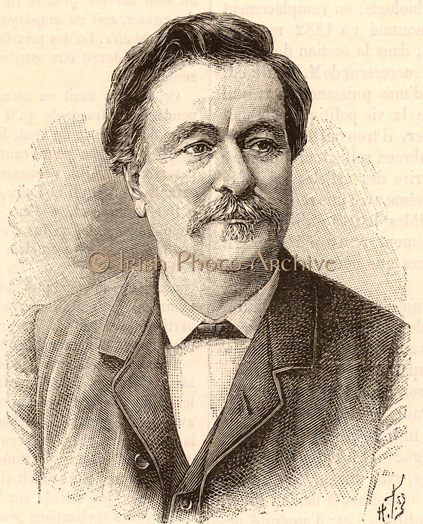 Paul Bert (1833-1886) French physiologist and politician. A pupil of Claude Bernard, he studied the physiological effects of air pressure (Caisson disease, and respiration at high altitude). Engraving from 'La Nature' (Paris, 1886).