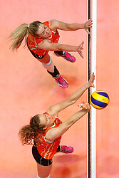 20180529 NED: Volleyball Nations League Netherlands - Poland, Apeldoorn<br />Maret Balkestein - Grothues (6) of The Netherlands, Nicole Koolhaas (22) of The Netherlands <br />©2018-FotoHoogendoorn.nl