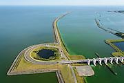 Nederland, Flevoland, Lelystad, 27-08-2013;<br /> Houtribsluizen met de Houtribdijk tussen Markermeer en het IJsselmeer.<br /> Houtribsluizen (locks) with Houtribdijk (dike) between the lakes Markermeer and the IJsselmeer.<br /> luchtfoto (toeslag op standaard tarieven);<br /> aerial photo (additional fee required);<br /> copyright foto/photo Siebe Swart.