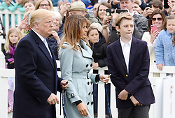 President Donald Trump, with First Lady Melania Trump and son Barron Trump attends the 140th Easter Egg Roll on the South Lawn of the White House in Washington, DC on Monday, April 2, 2018. Photo by Olivier Douliery/Abaca Press