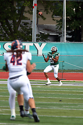 01 October 2016:  Matese Scott readies under a punt for a reception and return during an NCAA division 3 football game between the Wheaton Thunder and the Illinois Wesleyan Titans in Tucci Stadium on Wilder Field, Bloomington IL (Photo by Alan Look)
