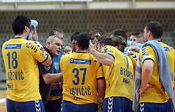 Coach Matjaz Tominec and team of Cimos at MIK First league Handball match between RK Cimos Koper and RD Slovan, on May 9, 2009, in SRC Bonifika, Koper, Slovenia.  (Photo by Vid Ponikvar / Sportida)