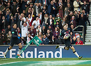 Twickenham, United Kingdom.Elloit DALY running with his frst half try, during the Old Mutual Wealth Series Rest Match: England vs Fiji, at the RFU Stadium, Twickenham, England, Saturday  19/11/2016<br /><br />[Mandatory Credit; Peter Spurrier/Intersport-images]