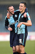 Goalscorer Luke O'Nien of Wycombe Wanderers celebrates after the final towards the home fans with Michael Harriman of Wycombe Wanderers (l). Skybet football league two match, Wycombe Wanderers  v Stevenage Town at Adams Park  in High Wycombe, Buckinghamshire on Saturday 12th March 2016.<br /> pic by John Patrick Fletcher, Andrew Orchard sports photography.