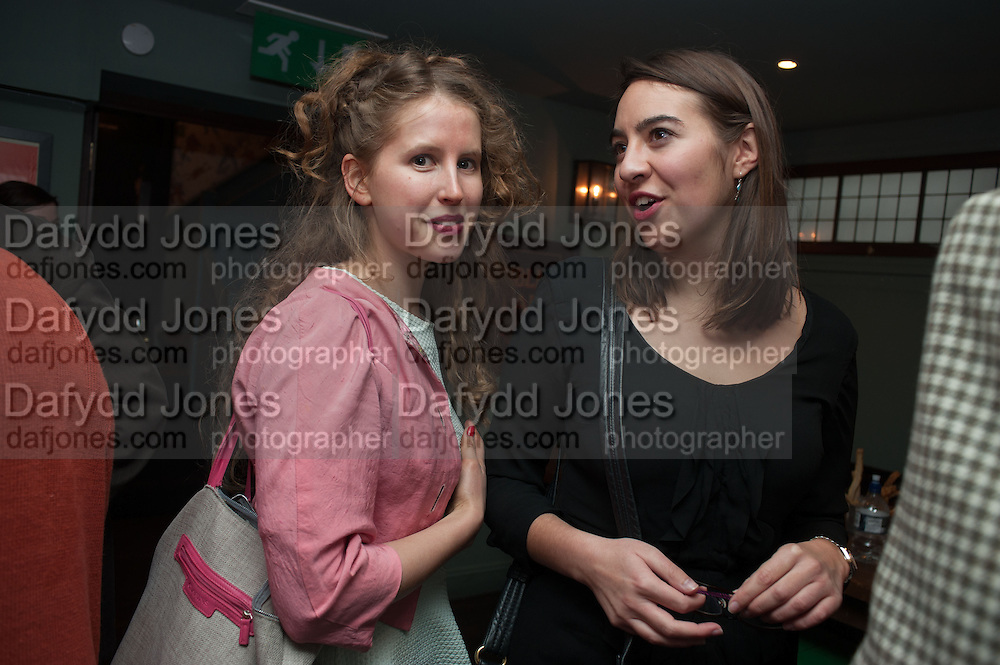 FREYA WOOD; VIOLET HUDSON, Party to celebrate the publication of 'Winter Games' by Rachel Johnson. the Draft House, Tower Bridge. London. 1 November 2012.