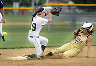 LYONS, PA - JUNE 09: Lansdale Catholic's second baseman Bridey Harkins (19) loses the ball as Bethlehem's Julia Madison (12) slides safely into second base in the first inning during the PIAA Class AAA softball semifinal June 9, 2014 Lyons, Pennsylvania. Bethlehem won 4-1. (Photo by William Thomas Cain/Cain Images)