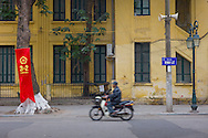 Blurred man on a motorbike takes a drive on the first day of the Lunar New Year, Hanoi, Vietnam, Southeast Asia, 2013