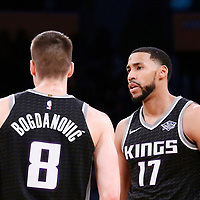 09 January 2018: Sacramento Kings guard Garrett Temple (17) talks to Sacramento Kings guard Bogdan Bogdanovic (8) during the LA Lakers 99-86 victory over the Sacramento Kings, at the Staples Center, Los Angeles, California, USA.