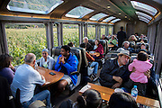 Visitors take the Peru Rail train to Agua Calientes which is the town at the bast of Machu Pich in Cusco, Peru.