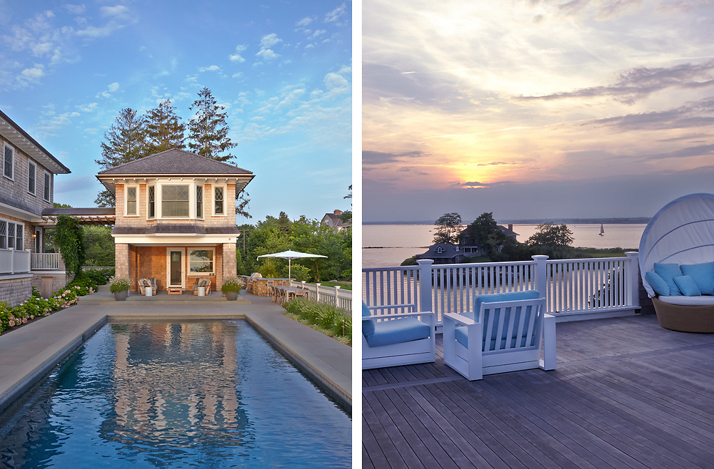Pool House and View from Rhode Island Coastal Home. Architecture by Noury-Ello Architects. Interior Design by Christine Lane Interiors