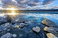 Oceania; New Zealand; Aotearoa; South Island; Canterbury, Southern Alps, Lake Pukaki, Sunset